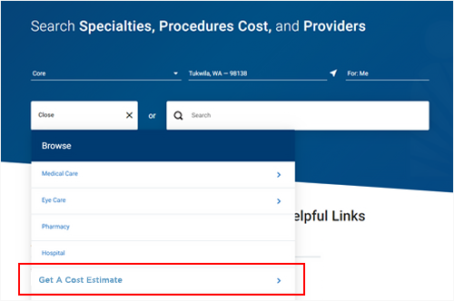 Image showing the Get A Cost Estimate link from the list