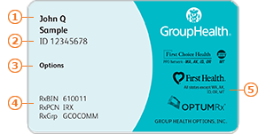Group Health Options member ID card
