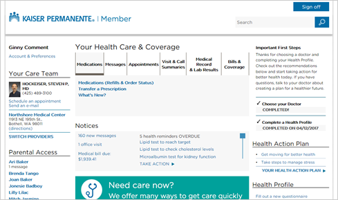 Kaiser Permanente secure home page