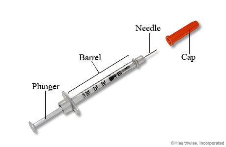 An insulin syringe