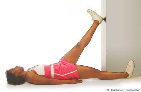 Picture of the hamstring stretch in a doorway
