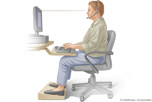 Proper sitting posture for typing